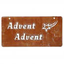 Metal chalkboard Advent mini, L30cm, H15cm, rust